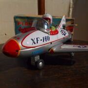 Vintage Nomura Toy Fighter Airplane Xf-160 Tin Toy With Box Made From Jp