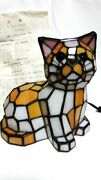 And Co Stained Cat Style Glass Lamp With Certificate Rare