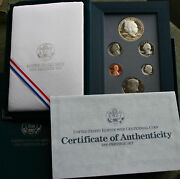 1990 Us Mint Six Coin Prestige Proof Set Ike 90 Silver Dollar With Box And Coa