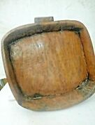 Primitive Antique Squire Old Carved Wooden Trencher Butter Or Dough Bowl Parat