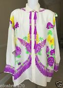 Gianni Versace Ivory Silk Shirt Tassel Fringe And Floral Print Size 56 From 1990