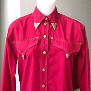 Versace Jeans Signature Red Cotton Western Womenand039s Stretch Shirt W/ Metal Tips