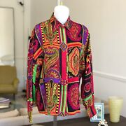 Gianni Versace Silk Womenand039s Shirt Il Cachemire Print Size It 44 From 1991