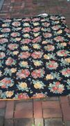 Pr Farmhouse Chic Cabbage Roses Red Yellow, Black Yarn Knotted Twin Comforters