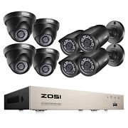 Zosi 5mp Lite 8ch Dvr 1080p Security Camera System Outdoor H.265+ Home Cctv Kit