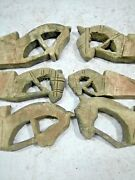 Antique Old Wooden Long Tribal 6 Horse Face Carving Blocks Wall Decor Hook