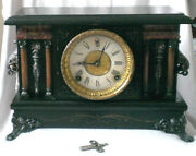 Sessions Antique Victorian Mantel Clock Eight Day Wood Case Gong
