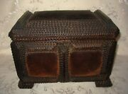 1800's Antique Tramp Art Footed Wooden Sewing Box With Velvet Panels