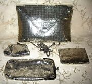 Whiting And Davis Clutch Shoulder Purse Silver Tone Metal Mesh And Matching Purses.