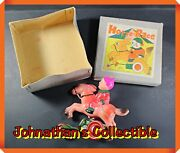 Jcandc -rare- Vintage Alps Horse Race Original Box Wind Up Toy - Occupied In Japan