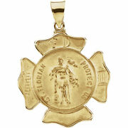 New Small 14k Yellow 25 Mm Pendant St. Florian Protect Us Religious Fire Dept.