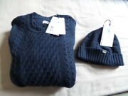Edwin United Cable Sweater And Beanie Navy Blue Brand New