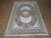 7and03911 X 11and0393 Hand Knotted Ivory Persian Fine Nain With Silk Oriental Rug G6199