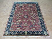 8 X 10and0397 Hand Knotted Rust Red Navy Blue Fine Sickle Design Oriental Rug G4983