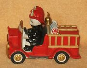 Vintage Schmid Kitty Cucumber Figurine To The Rescue Fire Truck