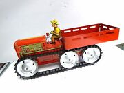 1940and039s Vintage Tin Marx Toy Giant Reversing Tractor Truck + Farmer New Old Stock
