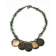 A Mongolian Green Stone And Bronze Bead Necklace Y668