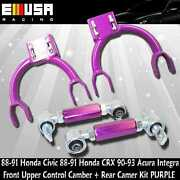 Front Upper Control Camber+rear Camberpurple For 88-91 Civic/crx 90-93 Integra