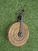 Antique Primitive Wheel Pulley Well Wrought Iron Hand Old Wood Campaign Country
