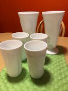 Vintage Milk Glass Vase Grapes And Leafs Design Heavy. Lot Of 6