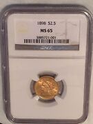 1898 Gold 2.5 Liberty Head Quarter Eagle Ngc Ms65 Superb Detail And Strike