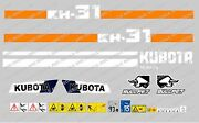 Kubota Kh31 Mini Digger Complete Decal Sticker Set With Safety Warning Signs
