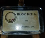 Vintage Glass Ad Paperweight W/dice Hans Bick Inc Reading Pa Hosiery Dryers