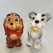 Old Rare Lady And The Tramp Porcelain Dog Figurines Japan Disney