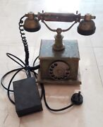 Antique Vtg Rare 1950s Green Marble Rotary Old Dial Style Telephone Onyx Brass