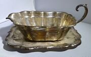 Gravy Boat Tray Reed And Barton Sterling Windsor Super Vintage Amazing Estate