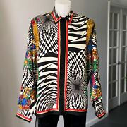 Gianni Versace Silk Shirt Op-baroque W/ Gold Accents Size It 52 From Fw 1991/92