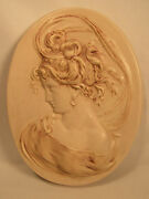Vintage Ceramic Victorian Woman Bust Wall Plaque 1974 Artist Signed Large