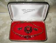 Sherman Jewels Of Elegance - Signed Ab Cinnamon Necklace, Brooch And Earrings