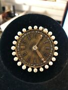 Antique 14k Yellow Gold Diamond And Pearls Clock Brooch Pendant