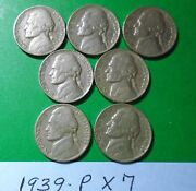 {7} 1939 Circulated Jefferson Nickels As Pictured Sold As Is