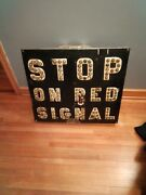 Rare Vintage Railroad Crossing Sign Stop On Red Signal Cat Eyes Reflectors