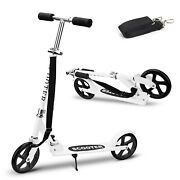 Adult Kick Scooter Folding 2 Wheels Ride Portable Lightweight Adjustable White
