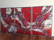 Stained Glass Contemporary Abstract Panel Suncatcher With Brazilian Agate