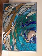 Stained Glass Mosaic Panel Transom W Nautilus Sea Shell Abstract Ooak