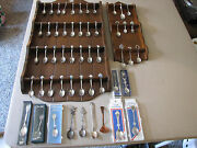Lot Of 52 Souvenir Spoons Collectible With 2 Wooden Display's