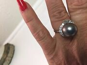 18kt White Gold South Sea Black Pearl And Diamonds Ladies Size 7 Ring -