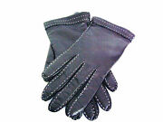 Jim Italian Black Cashmere Lined Leather Gloves With White Cord Trim Sz 7.5