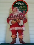 1996 Coca Cola Coke Christmas Santa Clause Cardboard Stand Up Store Sign Display