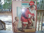 1959 Coca Cola Santa Claus Cardboard Stand Up Sign Refreshing Surprise Framed