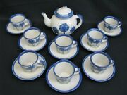 18 Pc. Louisville Stoneware Co Cornflower Coffee Pot Cups And Saucers Usa