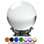 8in Crystal Ball Sphere For Feng Shui, Meditation, Decor, With Elephant Stand.
