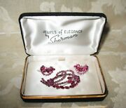 Sherman Jewels Of Elegance-signed Sherman Pink Brooch And Matching Earrings Set