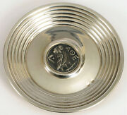 Vintage Sterling Silver Coin Tray Plate With Owl Greek Athens Roman Coin Rare
