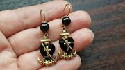 Rare Beautiful Victorian 1890and039s Gold Plated Faith Hope Charity Earrings