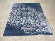 8and0393 X 10and0395 Hand Knotted Black Broken Serapi Heriz Design Oriental Rug G6519
